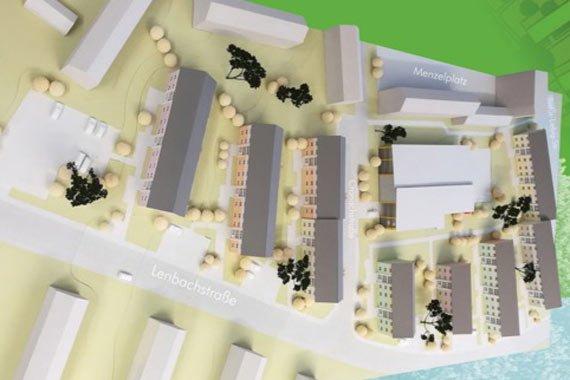 Modellansicht des Projekts mit Haeusern und Straßen